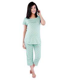 Morph Half Sleeves Nursing Pajama Set - GreenPyjama
