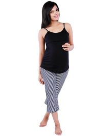 Morph Singlet Striped Nursing Pyjama Set - Black & White
