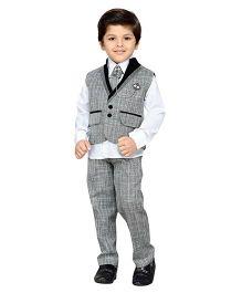 AJ Dezines Shirt Waistcoat Pant With Tie Set - Grey