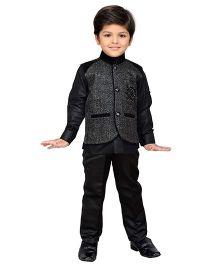 AJ Dezines Full Sleeves Shirt Waistcoat & Pant Set - Black