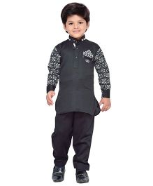 AJ Dezines Full Sleeves Pathani Suit Set - Black
