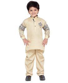AJ Dezines Full Sleeves Pathani Suit Set - Fawn