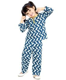 Little Pockets Store Kids Night Suit - Blue