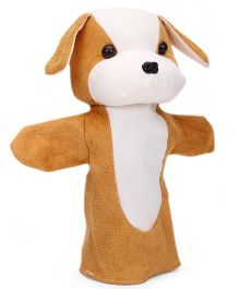 IR Hand Puppet Doggy White & Brown - 25 cm