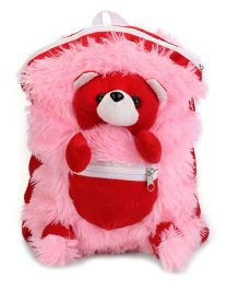 IR Teddy School Bag Red Pink - 11 Inches