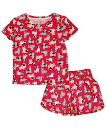 CrayonFlakes Puppy Print Night Suit - Pink