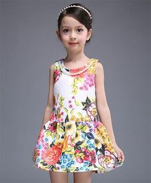 Superfie Mix Floral Dress For Summer - White