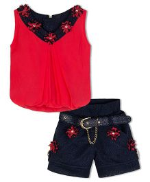 Stupa Fashion Shorts & Top With Belt Flower Patch Work - Red