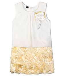 Stupa Fashion Cute Baby Dress With Side Flower - Yellow