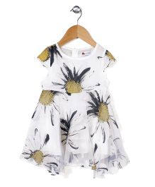 Adores Flower Print Dress - White & Black