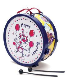 Luvely Toy Musical Drum Happy Birthday Print - Blue & White