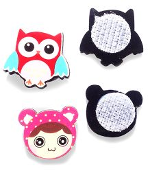 Akinos Kids Set Of 2 Owl & Doll Shaped Velcro Clips - Multicolour