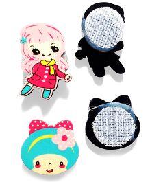 Akinos Kids Mini Set Of 2 Velcro Clips - Pink & Blue