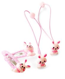 Akinos Kids Cute Bunny Snap Clips & Rubber Band - Baby Pink