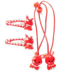 Akinos Kids Cute Bunny Snap Clips & Rubber Band - Red