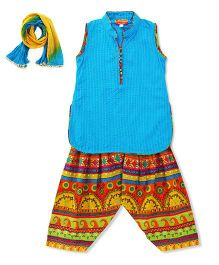 Exclusive From Jaipur Sleeveless Kurti & Palazzo Set - Blue & Multicolor