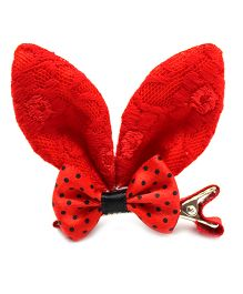 Eternz Haedos Collection Knitted Fabric Rabbit Ears Hair Clip - Red