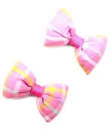 Eternz Haedos Collection Checkered Bow Hair Clip - Pink