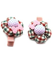 Eternz Haedos Collection Checkered Flower Hair Clip - Red & Green