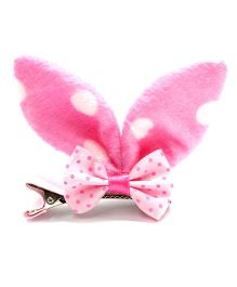 Eternz Haedos Collection Polka Dot Rabbit Ears Hair Clip - Light Pink