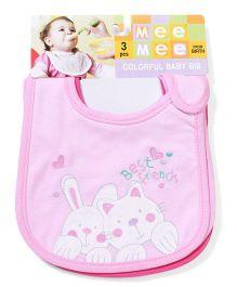 Mee Mee Baby Bib Multi Print Pink - Pack Of 3