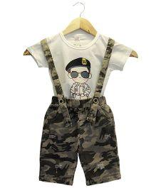 Funtoosh Kidswear Boys Dungaree Set - White & Brown