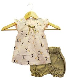 Funtoosh Kidswear Girls Top & Short Set - Peach