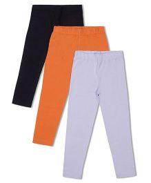 Raine And Jaine Girls 3 Piece Leggings - Black Orange & Grey