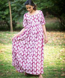 Momzjoy Berry Colored Gathered Maternity Maxi Dress - Pink