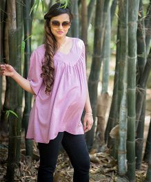 Momzjoy Floating Sleeves Boho Chic Maternity Top - Blush Pink