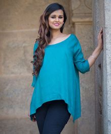 Momzjoy Three Fourth Sleeves Maternity Top - Bluish Green