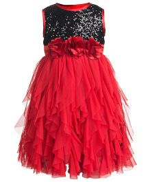 Toy Balloon Sleeveless Waterfall Party Dress Flower Applique - Red