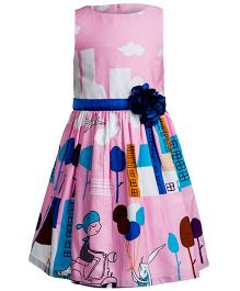 Toy Balloon Sleeveless Frock Flower Applique - Pink