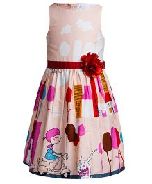 Toy Balloon Sleeveless Party Frock Flower Applique - Peach