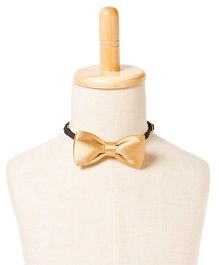 Brown Bows Satin Butterfly Bow Tie - Golden