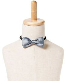 Brown Bows Satin Butterfly Bow Tie - Silver