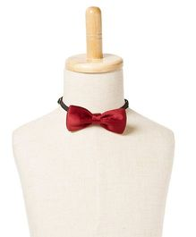 Brown Bows Satin Butterfly Bow Tie - Red