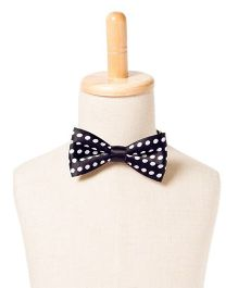 Brown Bows Satin Butterfly Bow Tie Polka Dots Print - Black