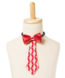 Brown Bows Printed Cotton Tail Down Bow Tie - Red