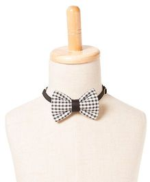 Brown Bows Cotton Butterfly Bow Tie Checks Print - Black and White