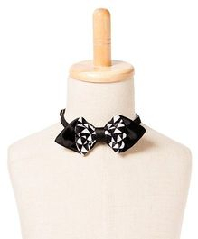 Brown Bows Satin Pointed Bow Tie Diamonds Print - Black and White
