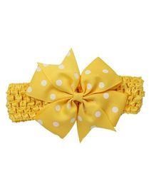 Bellazaara Baby Girl Polka Dot Bowknot On Wide Crochet Headband  - Yellow