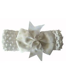 Bellazaara Baby Girl Polka Dot Bowknot On Wide Crochet Headband   - White