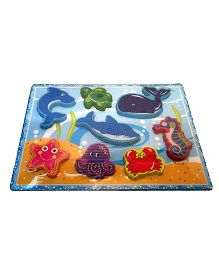 Mamaboo Sealife Wooden Puzzle Multicolor - 8 Pieces