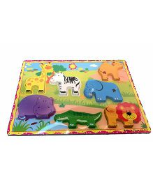 Mamaboo Zoo Animal Wooden Puzzle Multicolor - 7 Pieces