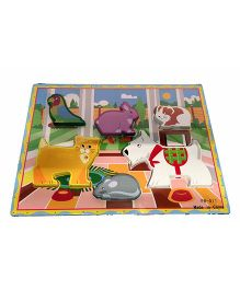 Mamaboo House Pets Wooden Puzzle Multicolor - 6 Pieces