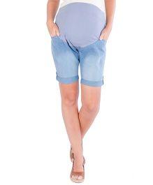 Morph Maternity Denim Bermuda - Light Blue