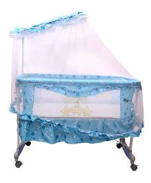 Toyhouse Baby Cradle With Mosquito Net And Rocking Function - Blue
