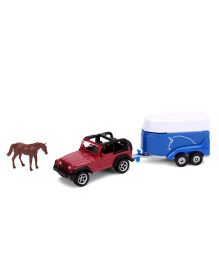 Funskool Siku Car With Horse Trailer- Red & Blue