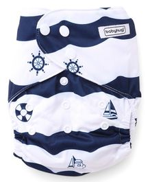 Babyhug Free Size Reusable Cloth Diaper With Insert Ship Print - White Navy